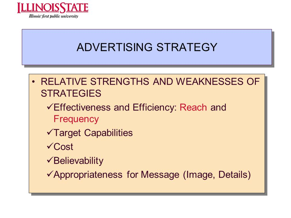 ADVERTISING STRATEGY RELATIVE STRENGTHS AND WEAKNESSES OF STRATEGIES Effectiveness and Efficiency: Reach and Frequency Target Capabilities Cost Believ