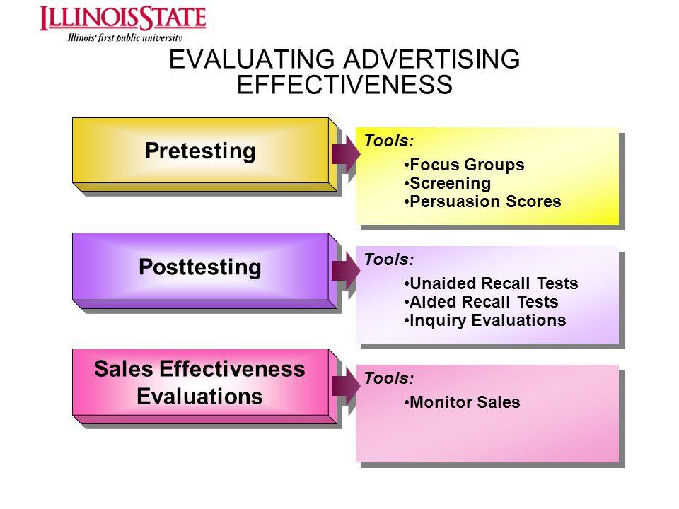 EVALUATING ADVERTISING EFFECTIVENESS Pretesting Posttesting Sales Effectiveness Evaluations Sales Effectiveness Evaluations Tools: Focus Groups Screen