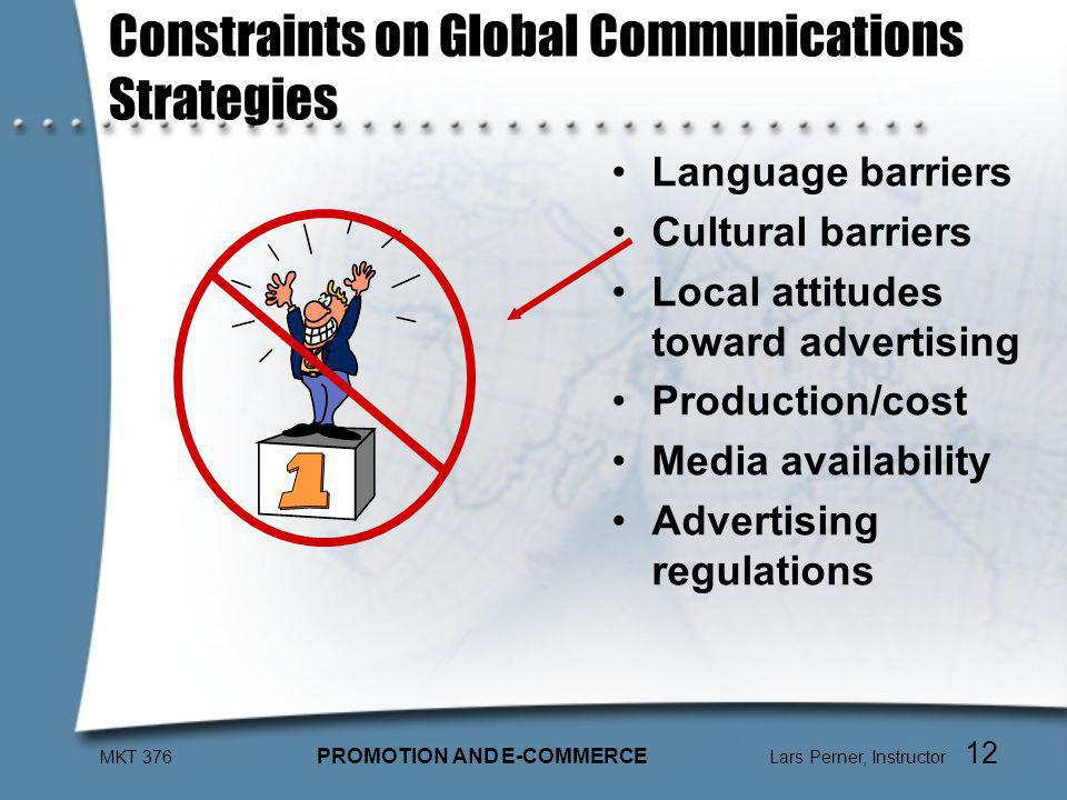 MKT 376 PROMOTION AND E-COMMERCE Lars Perner, Instructor 12 Constraints on Global Communications Strategies Language barriers Cultural barriers Local attitudes toward advertising Production/cost Media availability Advertising regulations