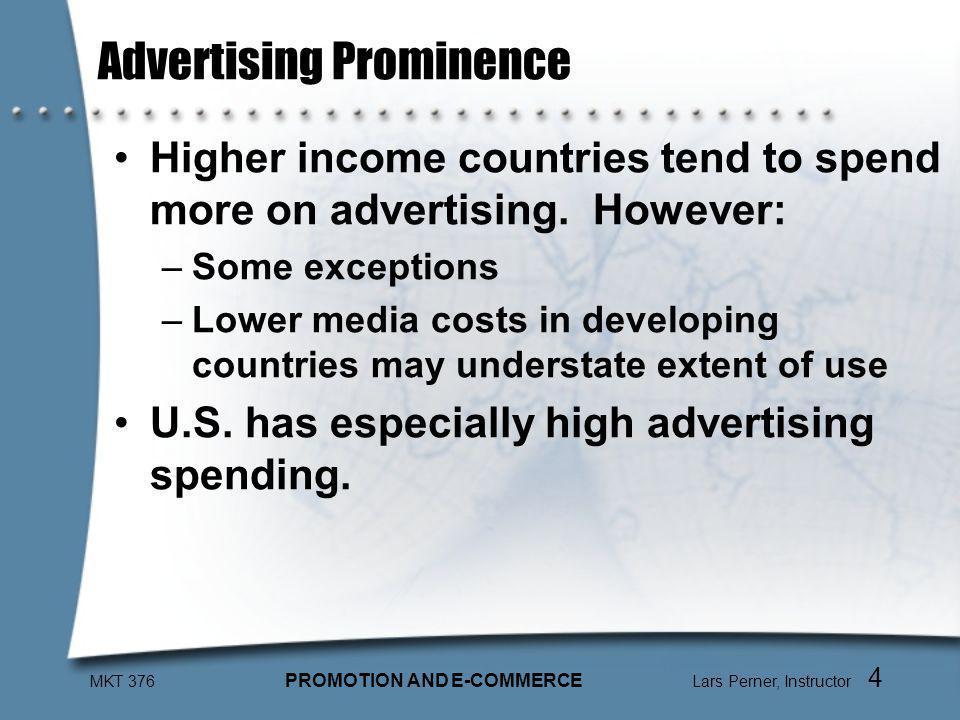 MKT 376 PROMOTION AND E-COMMERCE Lars Perner, Instructor 5 Ad Spending vs.
