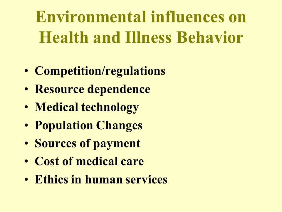 Environmental influences on Health and Illness Behavior Competition/regulations Resource dependence Medical technology Population Changes Sources of p