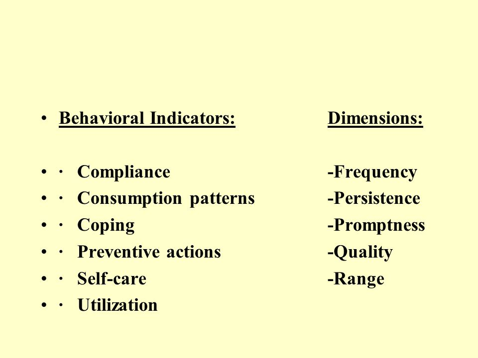Behavioral Indicators:Dimensions: · Compliance-Frequency · Consumption patterns-Persistence · Coping-Promptness · Preventive actions-Quality · Self-ca