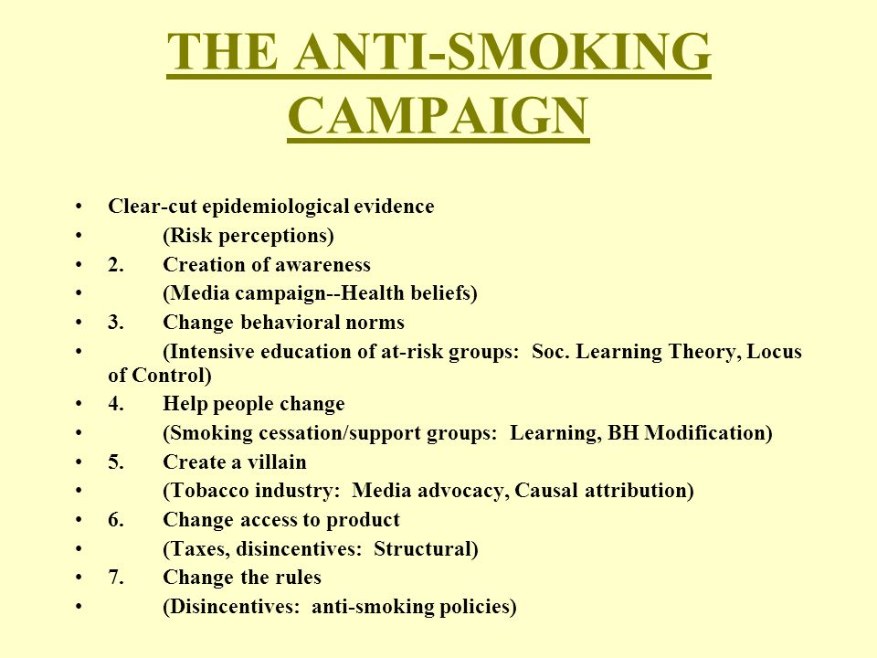 THE ANTI-SMOKING CAMPAIGN Clear-cut epidemiological evidence (Risk perceptions) 2.Creation of awareness (Media campaign--Health beliefs) 3.Change beha