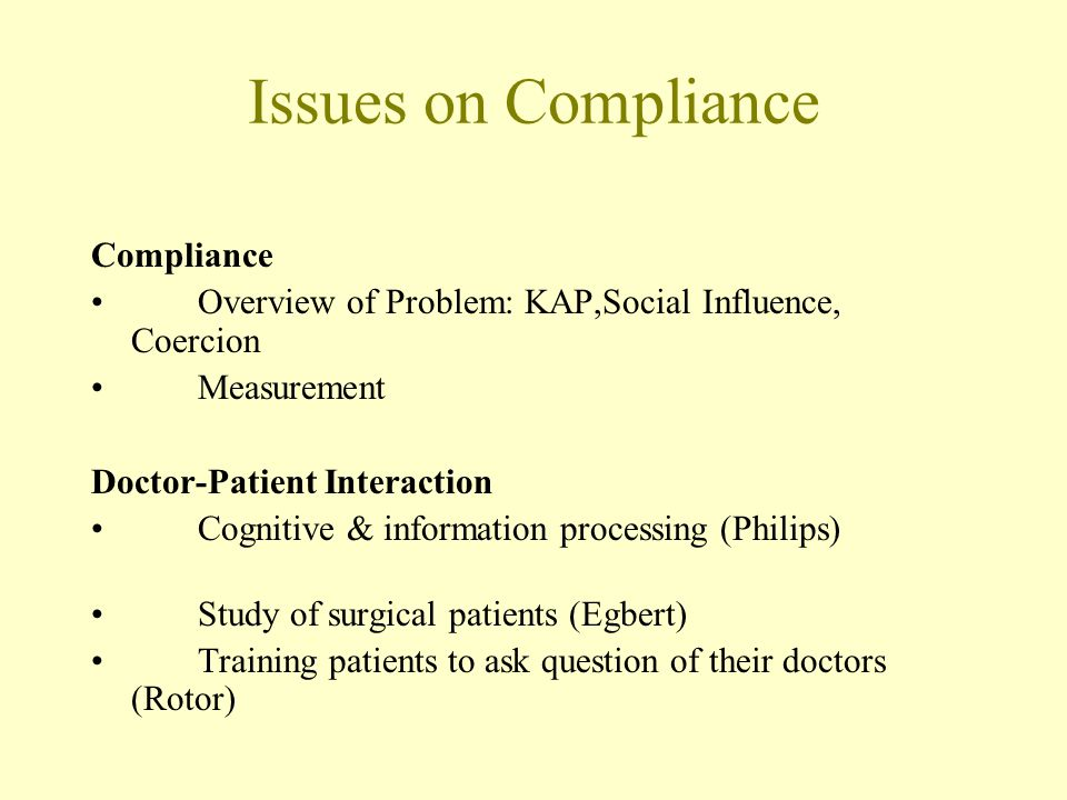 Issues on Compliance Compliance Overview of Problem: KAP,Social Influence, Coercion Measurement Doctor-Patient Interaction Cognitive & information pro