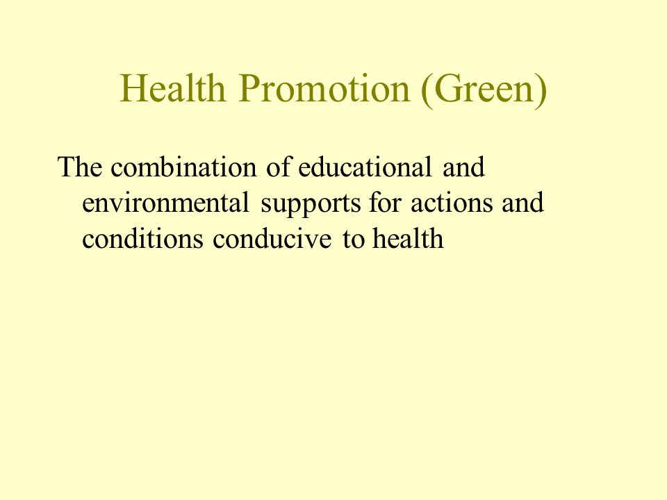 Health Promotion (Green) The combination of educational and environmental supports for actions and conditions conducive to health