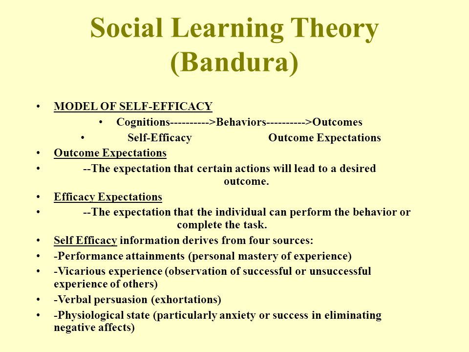 Social Learning Theory (Bandura) MODEL OF SELF-EFFICACY Cognitions---------->Behaviors---------->Outcomes Self-EfficacyOutcome Expectations Outcome Ex