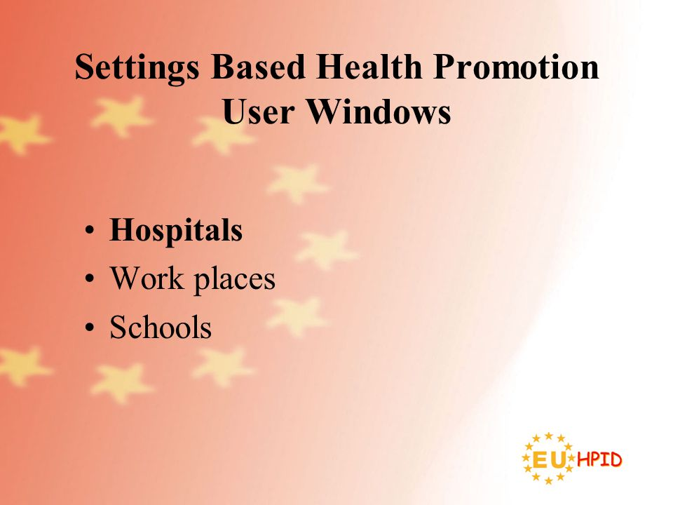 Settings Based Health Promotion User Windows Hospitals Work places Schools
