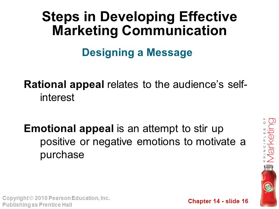 Chapter 14 - slide 16 Copyright © 2010 Pearson Education, Inc. Publishing as Prentice Hall Steps in Developing Effective Marketing Communication Ratio