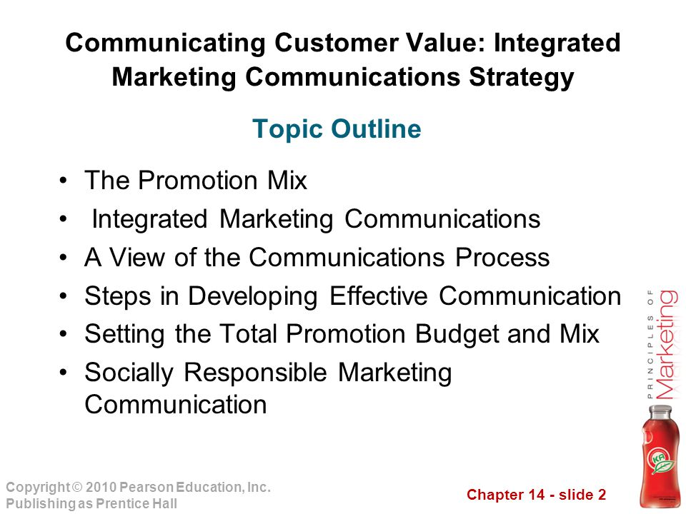 Chapter 14 - slide 2 Copyright © 2010 Pearson Education, Inc. Publishing as Prentice Hall Communicating Customer Value: Integrated Marketing Communica
