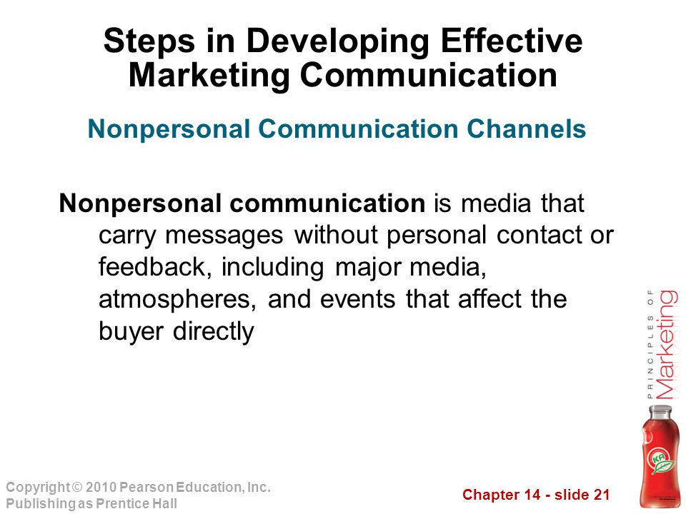 Chapter 14 - slide 21 Copyright © 2010 Pearson Education, Inc. Publishing as Prentice Hall Steps in Developing Effective Marketing Communication Nonpe
