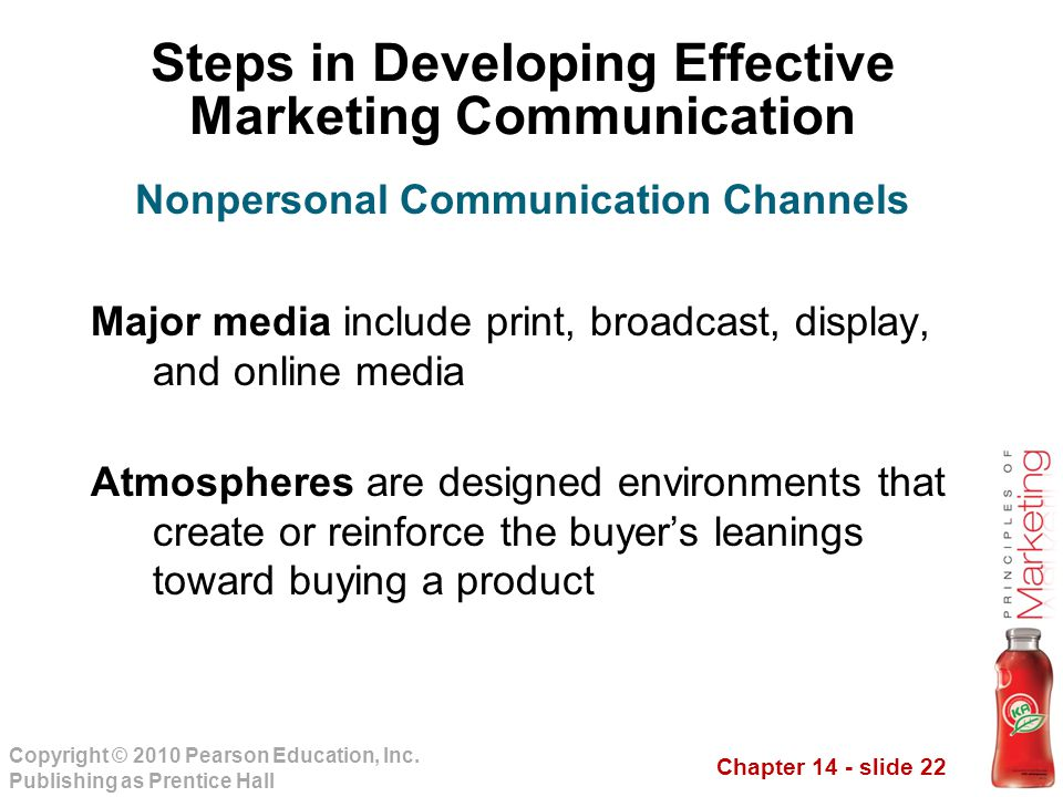 Chapter 14 - slide 22 Copyright © 2010 Pearson Education, Inc. Publishing as Prentice Hall Steps in Developing Effective Marketing Communication Major