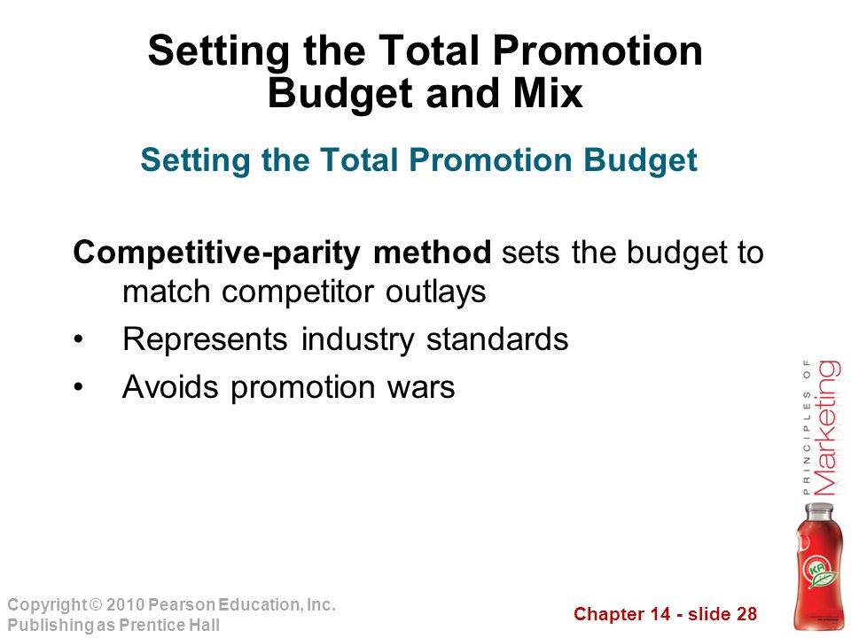 Chapter 14 - slide 28 Copyright © 2010 Pearson Education, Inc. Publishing as Prentice Hall Competitive-parity method sets the budget to match competit