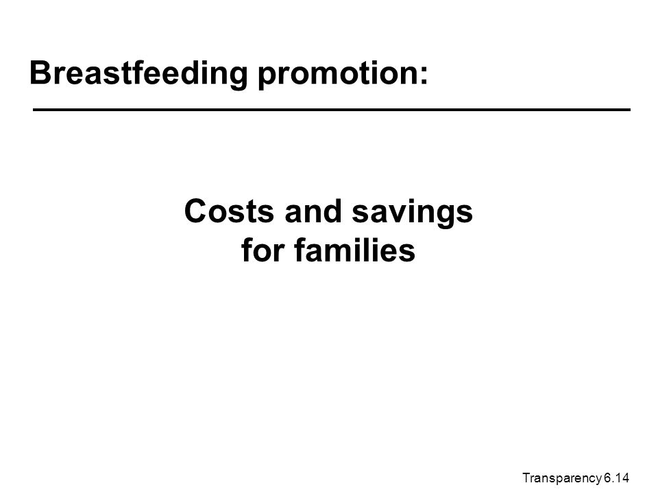 Transparency 6.14 Breastfeeding promotion: Costs and savings for families
