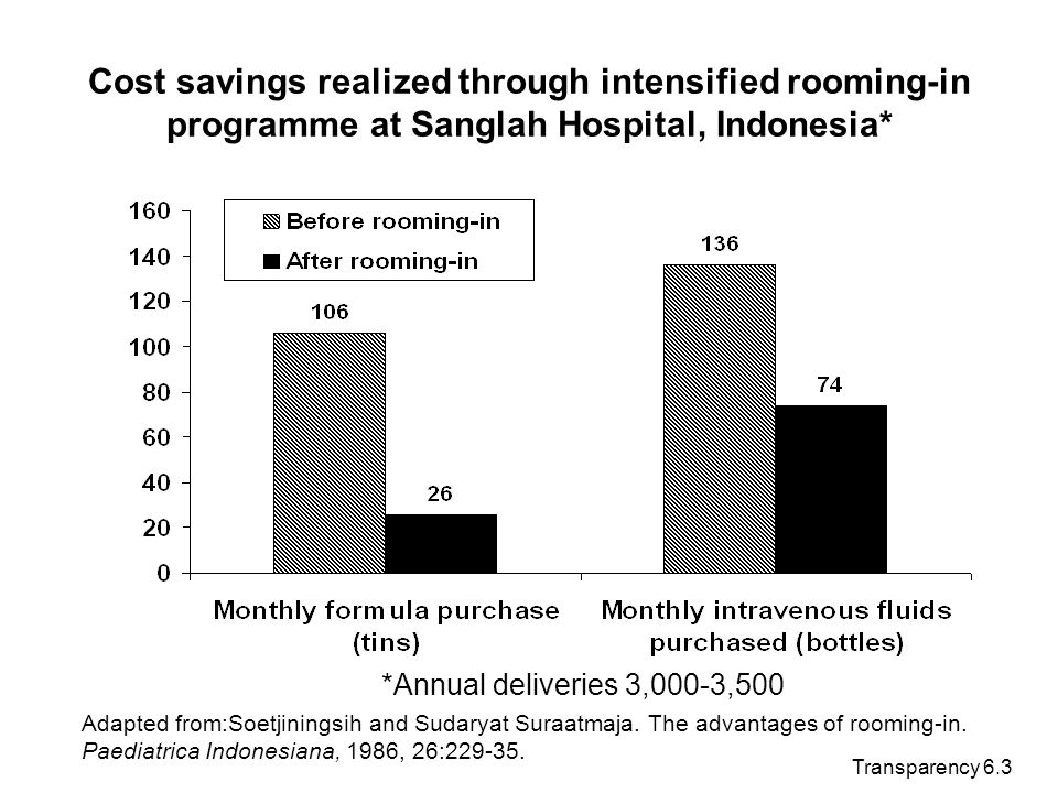 Transparency 6.3 Cost savings realized through intensified rooming-in programme at Sanglah Hospital, Indonesia* *Annual deliveries 3,000-3,500 Adapted
