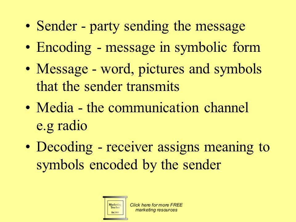 Sender - party sending the message Encoding - message in symbolic form Message - word, pictures and symbols that the sender transmits Media - the communication channel e.g radio Decoding - receiver assigns meaning to symbols encoded by the sender