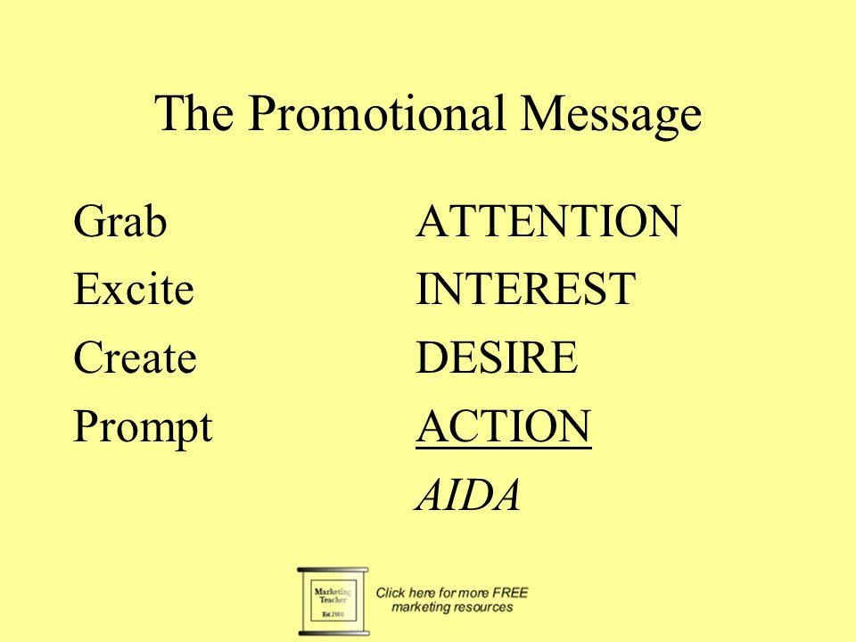 The Promotional Message GrabATTENTION ExciteINTEREST CreateDESIRE PromptACTION AIDA
