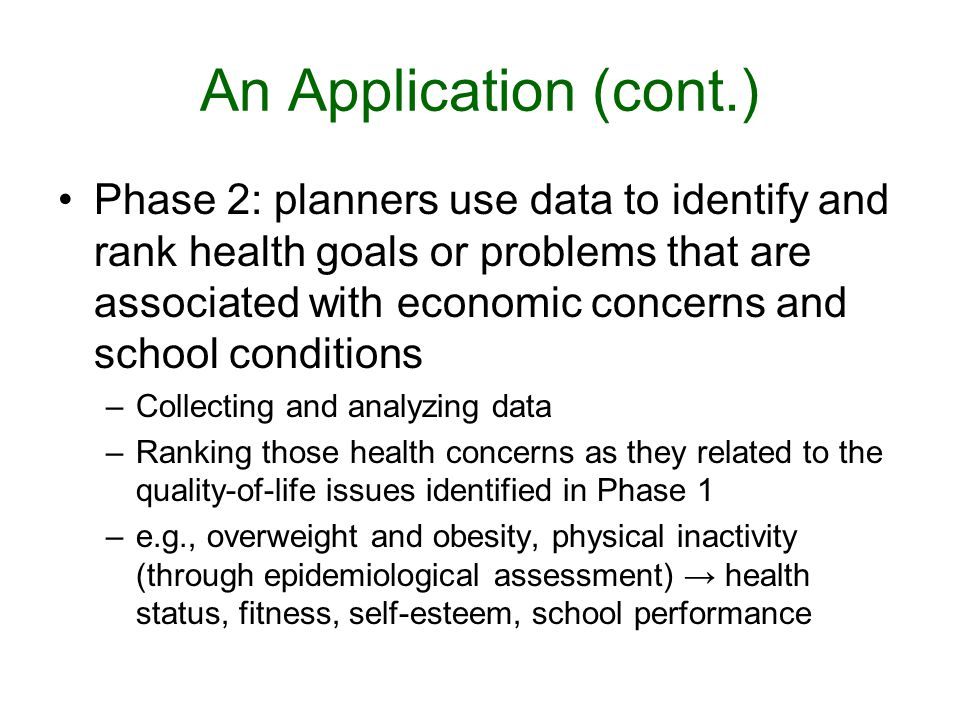 An Application (cont.) Phase 2: planners use data to identify and rank health goals or problems that are associated with economic concerns and school