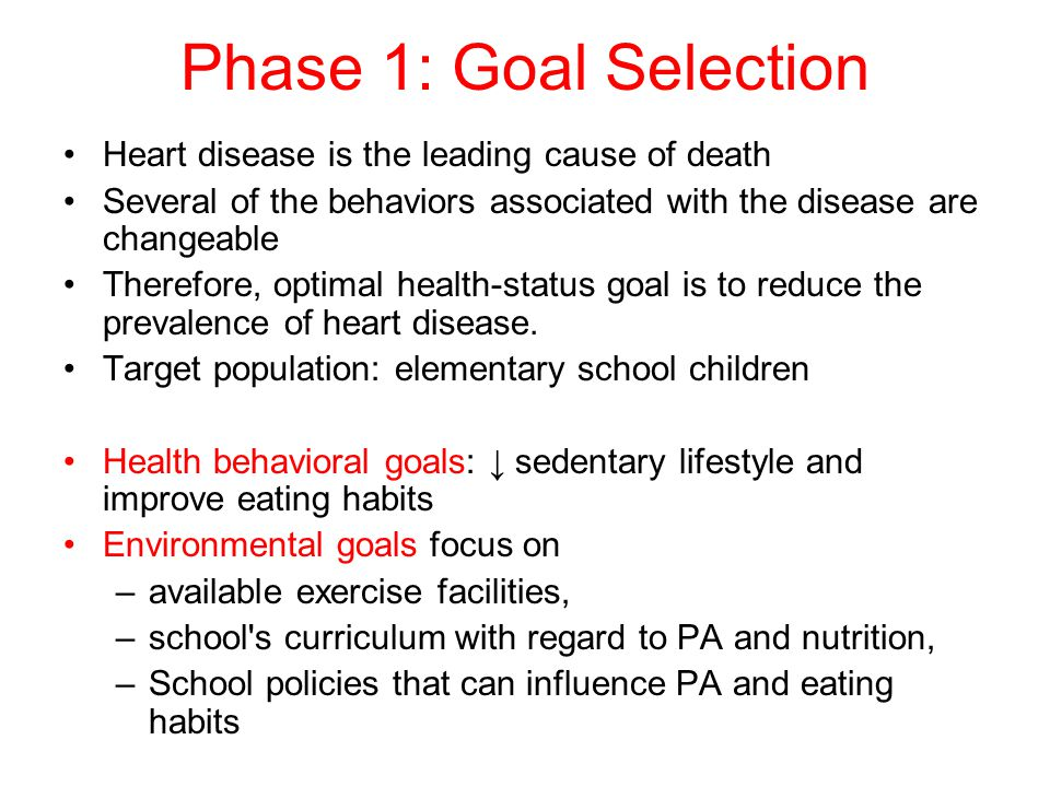 Heart disease is the leading cause of death Several of the behaviors associated with the disease are changeable Therefore, optimal health-status goal