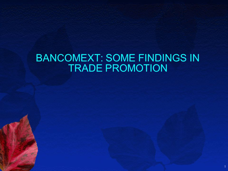 8 BANCOMEXT: SOME FINDINGS IN TRADE PROMOTION
