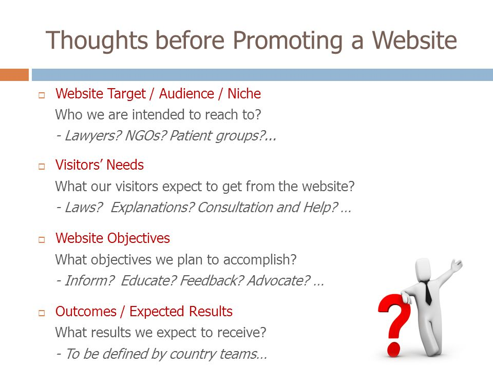 Thoughts before Promoting a Website Website Target / Audience / Niche Who we are intended to reach to.