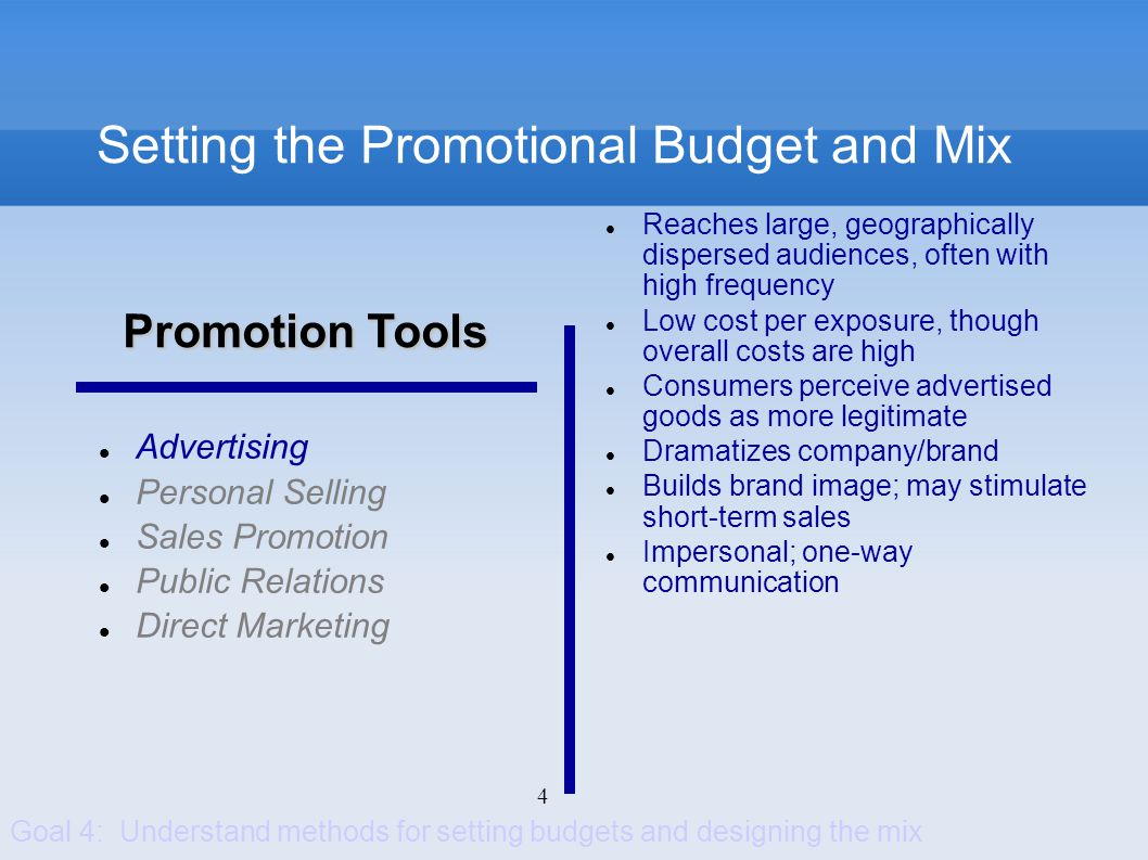 4 Setting the Promotional Budget and Mix Advertising Personal Selling Sales Promotion Public Relations Direct Marketing Reaches large, geographically