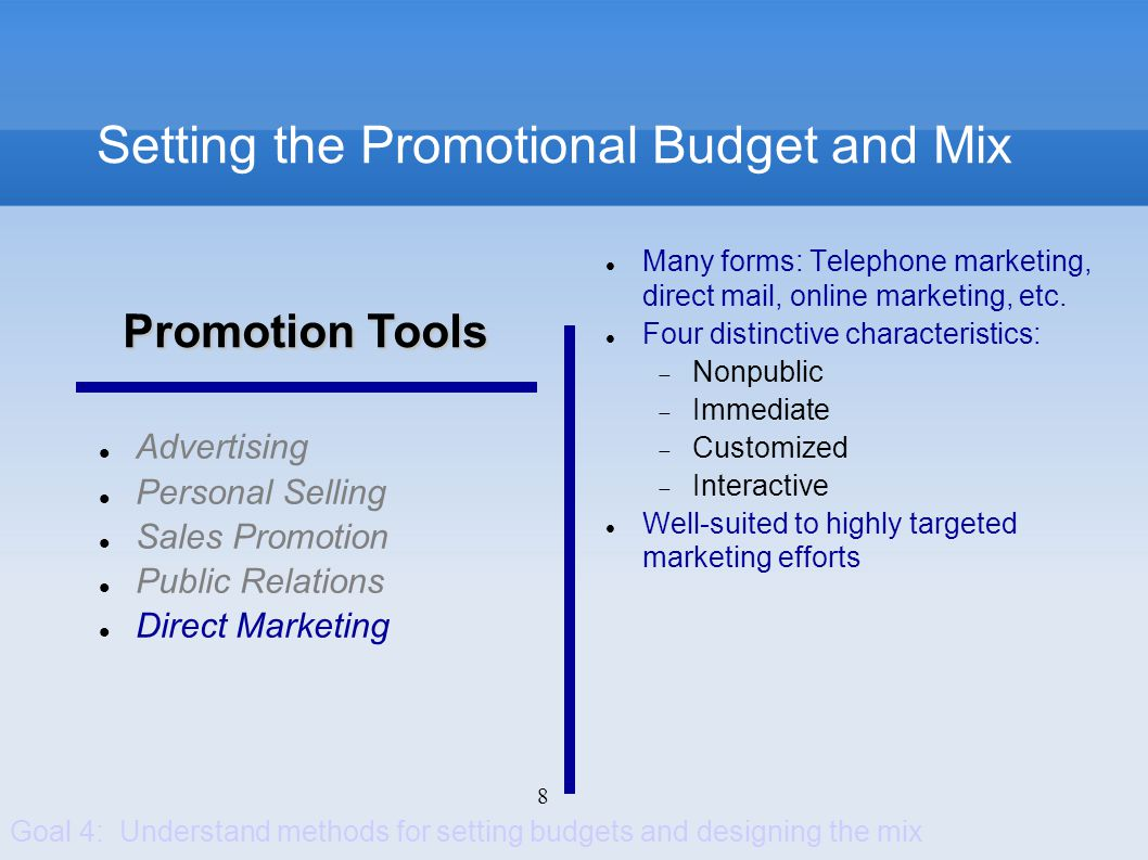 8 Setting the Promotional Budget and Mix Advertising Personal Selling Sales Promotion Public Relations Direct Marketing Many forms: Telephone marketin