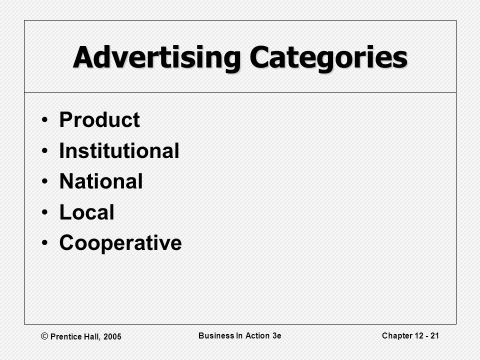 © Prentice Hall, 2005 Business In Action 3eChapter 12 - 21 Advertising Categories Product Institutional National Local Cooperative