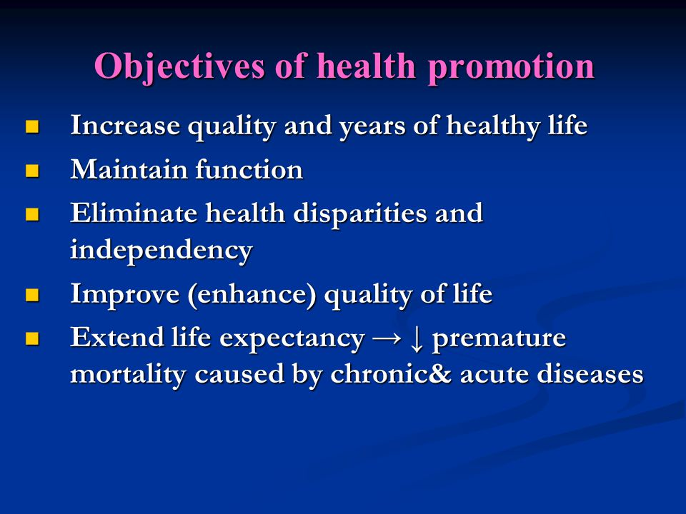Component of health promotion Component of health promotion 1.
