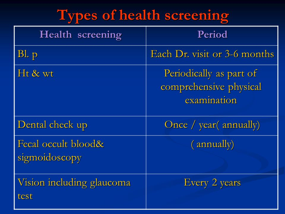 Types of health screening Health screening Period Bl. p Each Dr. visit or 3-6 months Ht & wt Periodically as part of comprehensive physical examinatio