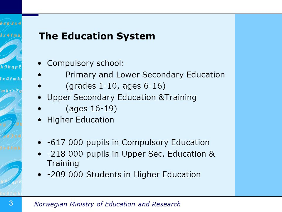 3 Norwegian Ministry of Education and Research The Education System Compulsory school: Primary and Lower Secondary Education (grades 1-10, ages 6-16)