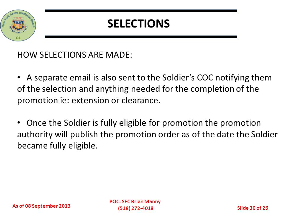 As of 08 September 2013 POC: SFC Brian Manny (518) 272-4018 Slide 31 of 26 STABS
