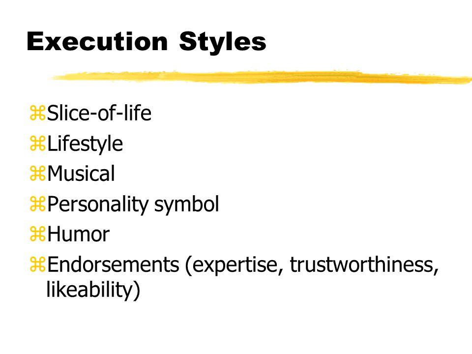 Execution Styles zSlice-of-life zLifestyle zMusical zPersonality symbol zHumor zEndorsements (expertise, trustworthiness, likeability)