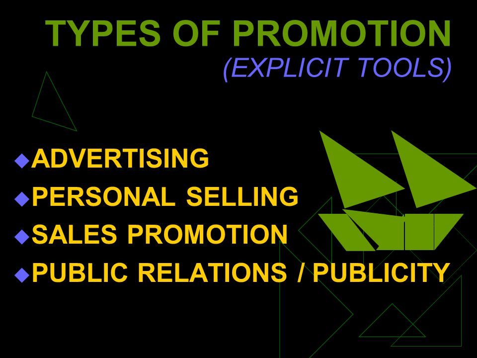TYPES OF PROMOTION (EXPLICIT TOOLS) ADVERTISING PERSONAL SELLING SALES PROMOTION PUBLIC RELATIONS / PUBLICITY