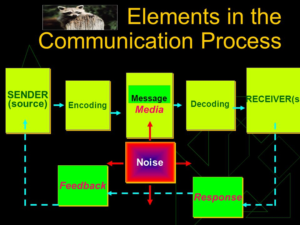 Elements in the Communication Process SENDER (source) SENDER (source) Encoding Decoding RECEIVER(s) Message Media Feedback Response Noise