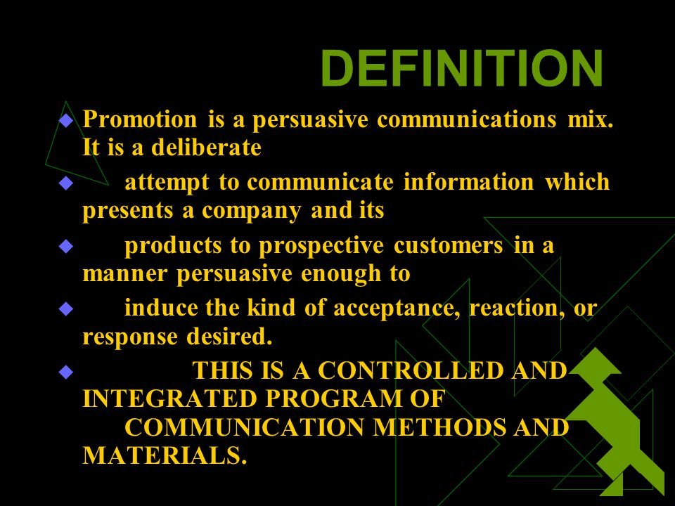 PROMOTION PLANNING STEP OBJECTIVE SETTING The objectives of promotion may be categorized as stimulating demand and enhancing company image.