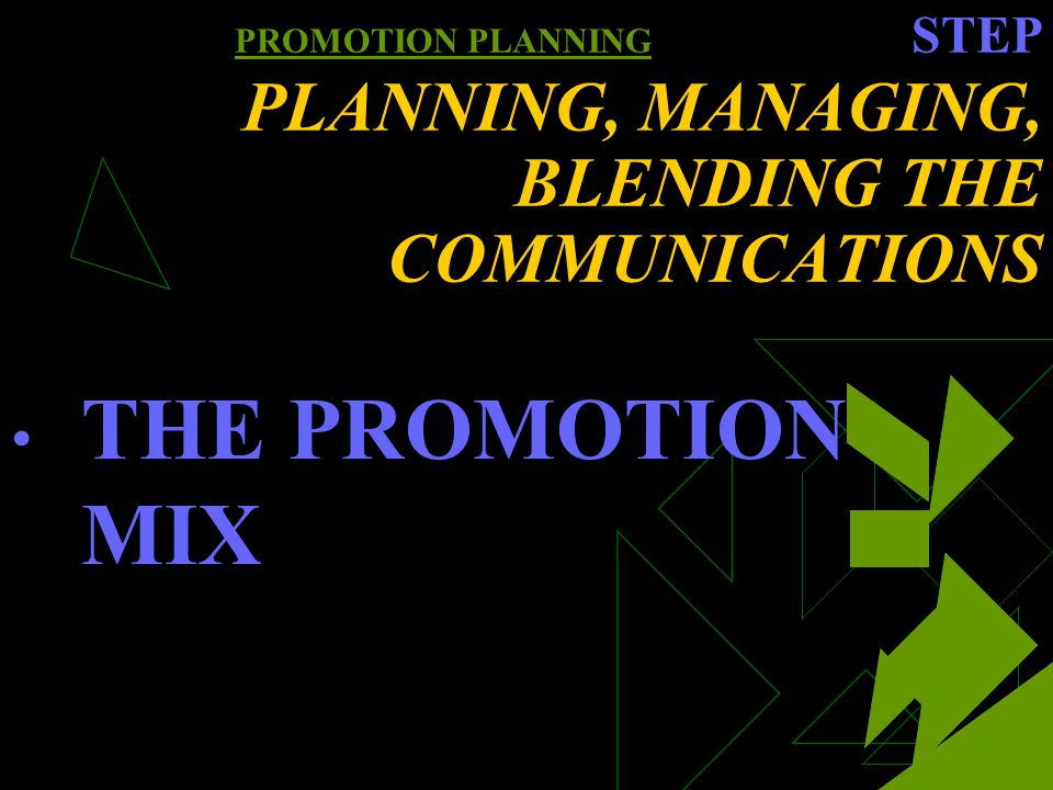 PROMOTION PLANNING STEP PLANNING, MANAGING, BLENDING THE COMMUNICATIONS THE PROMOTION MIX