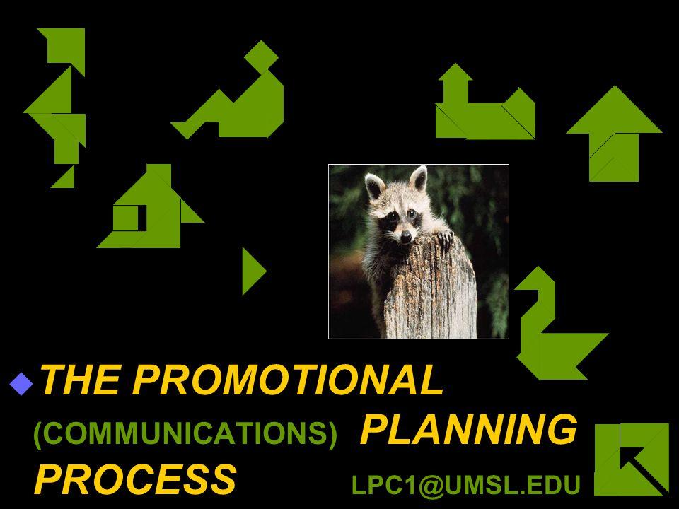 THE PROMOTIONAL (COMMUNICATIONS) PLANNING PROCESS LPC1@UMSL.EDU