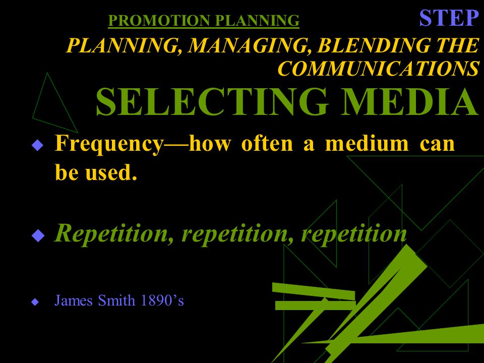 PROMOTION PLANNING STEP PLANNING, MANAGING, BLENDING THE COMMUNICATIONS SELECTING MEDIA Frequencyhow often a medium can be used.