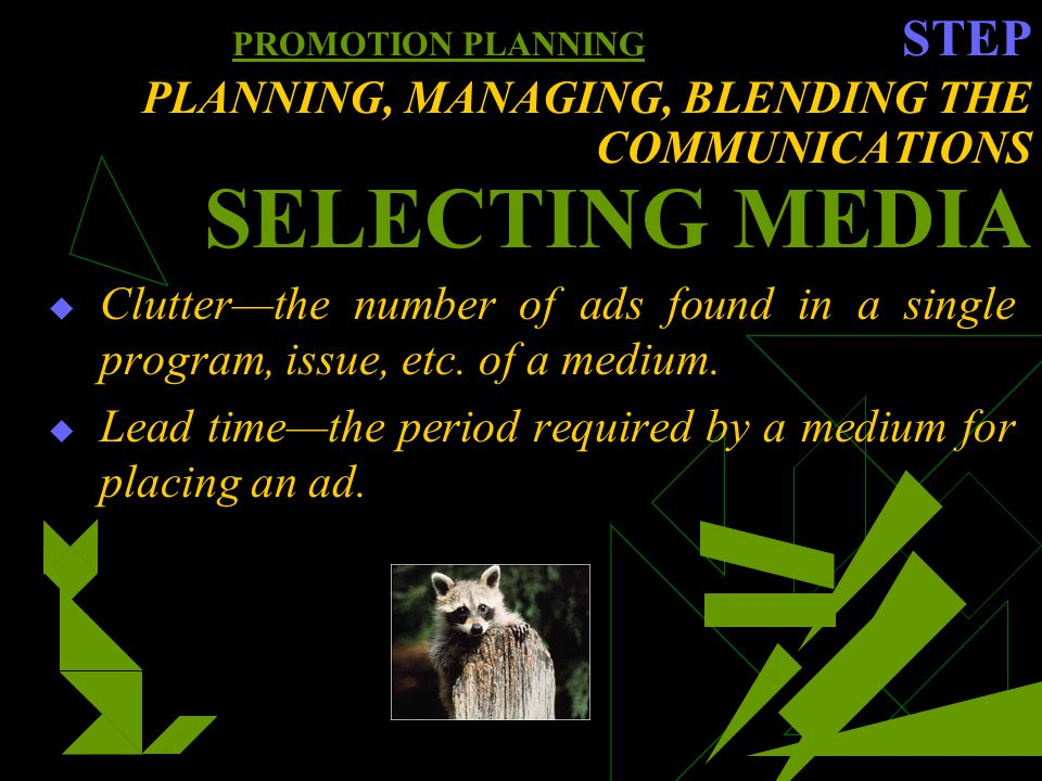 PROMOTION PLANNING STEP PLANNING, MANAGING, BLENDING THE COMMUNICATIONS SELECTING MEDIA Clutterthe number of ads found in a single program, issue, etc.