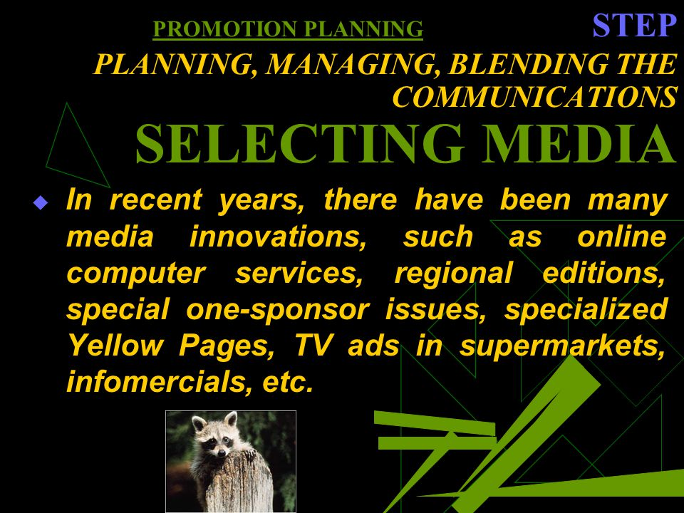 PROMOTION PLANNING STEP PLANNING, MANAGING, BLENDING THE COMMUNICATIONS SELECTING MEDIA In recent years, there have been many media innovations, such as online computer services, regional editions, special one-sponsor issues, specialized Yellow Pages, TV ads in supermarkets, infomercials, etc.