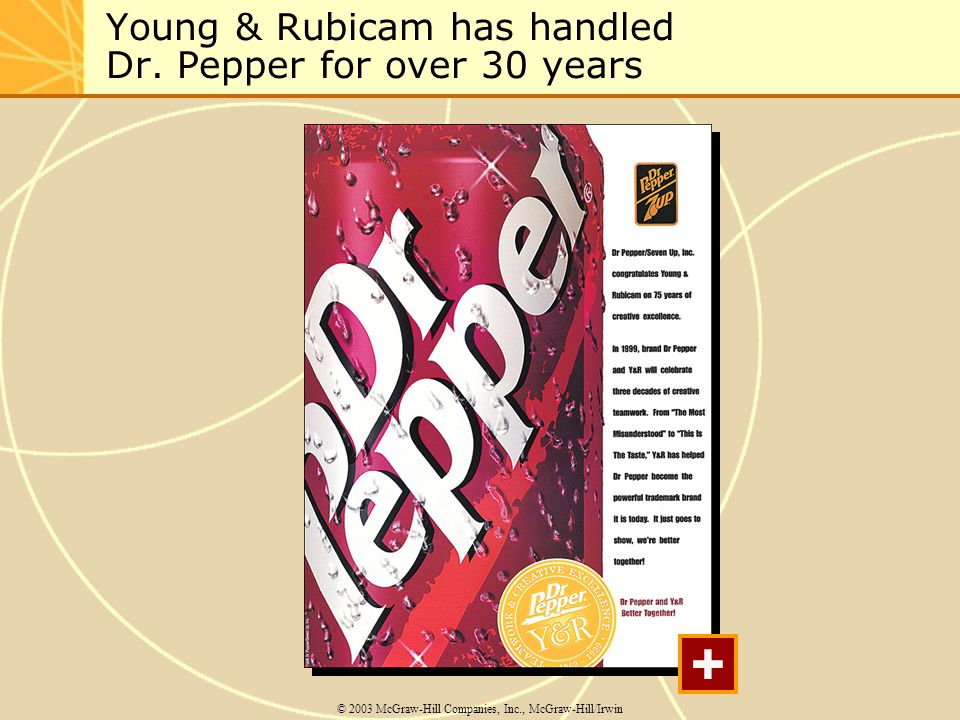 Young & Rubicam has handled Dr. Pepper for over 30 years © 2003 McGraw-Hill Companies, Inc., McGraw-Hill/Irwin +