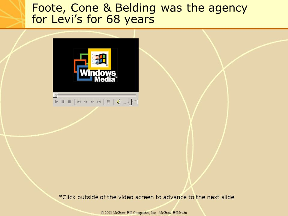 Foote, Cone & Belding was the agency for Levis for 68 years © 2003 McGraw-Hill Companies, Inc., McGraw-Hill/Irwin *Click outside of the video screen t
