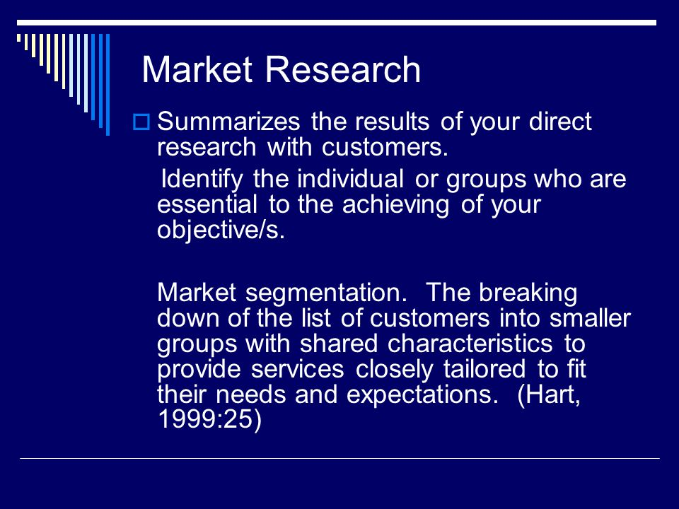 Market Research Summarizes the results of your direct research with customers.