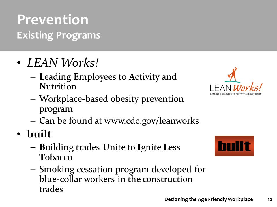 Designing the Age Friendly Workplace12 Prevention Existing Programs LEAN Works! – Leading Employees to Activity and Nutrition – Workplace-based obesit