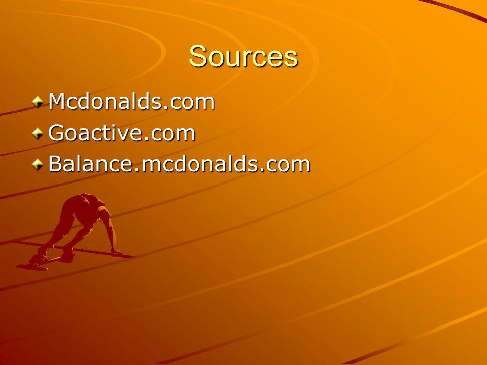 Sources Mcdonalds.comGoactive.comBalance.mcdonalds.com