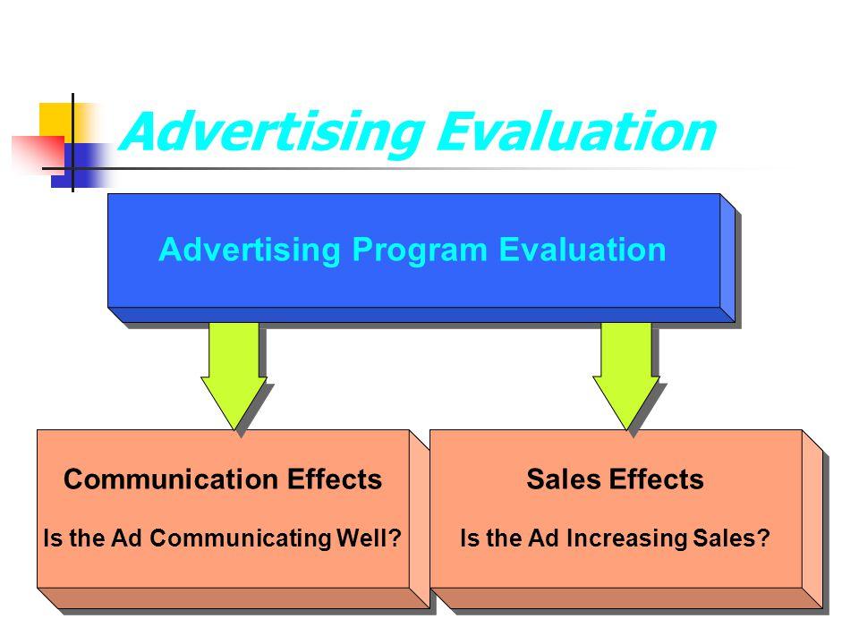 Advertising Program Evaluation Communication Effects Is the Ad Communicating Well? Communication Effects Is the Ad Communicating Well? Advertising Eva