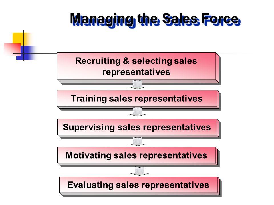 Recruiting & selecting sales representatives Training sales representatives Supervising sales representatives Motivating sales representatives Managin