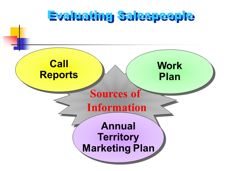 Evaluating Salespeople Sources of Information Sources of Information Annual Territory Marketing Plan Annual Territory Marketing Plan Work Plan Work Pl