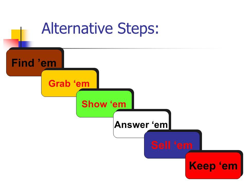 Alternative Steps: Find em Grab em Show em Answer em Sell em Keep em