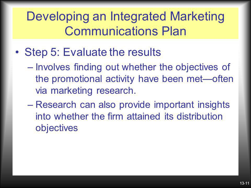 13-11 Developing an Integrated Marketing Communications Plan Step 5: Evaluate the results –Involves finding out whether the objectives of the promotio